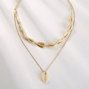 Jewelry - Double Layer Gold & Shell Choker Charm Necklace
